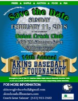 Akins Baseball 2018 GolfTourney save the date sign md